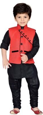 AJ Dezines Boys Full Sleeve Ethnic Set(Pack of 1 Red)