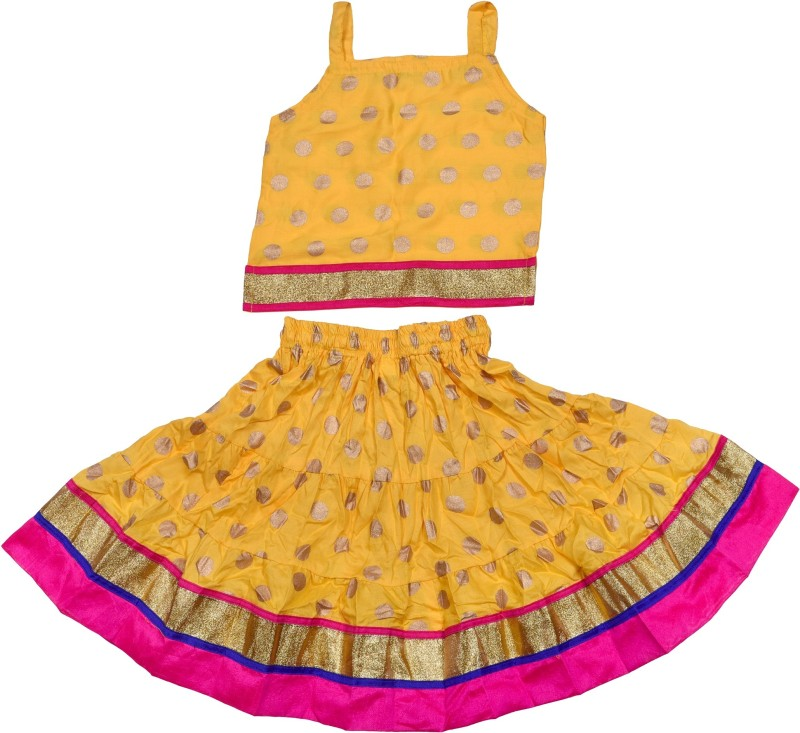 Decot Paradise Girls Top and Skirt Set(Yellow Pack of 1)