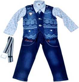 Hey Baby Boys Shirt, Waistcoat and Pant Set(Dark Blue Pack of 4)