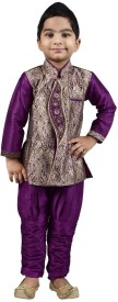 Pehrav Boys Kurta and Breeches Set(Purple Pack of 2)