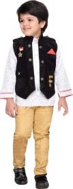 AJ Dezines Boys Shirt, Waistcoat and Pant Set(Black Pack of 1)