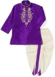 BownBee Boys Dhoti & Kurta Set (Purple P...