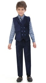 Jeet Boys Shirt, Waistcoat and Pant Set(Blue Pack of 1)