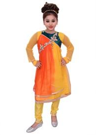 Gungun Pari Girls Wedding Kurta, Churidar & Dupatta Set(Gold Pack of 1)
