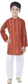 Soundarya Boys Kurta and Pyjama Set(Orange Pack of 1)