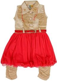 kidies wear Girls Kurta and Leggings Set(Red Pack of 1)