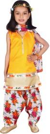 BownBee Girls Salwar and Kurta Set(Yellow Pack of 1)
