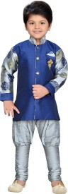 AJ Dezines Boys Festive & Party Sherwani and Churidar Set(Grey Pack of 1)