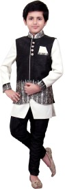 MFWN Designer Wear Boys Kurta, Waistcoat and Breeches Set(Black Pack of 2)
