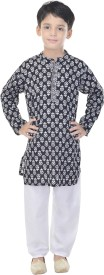 Soundarya Boys Kurta and Pyjama Set(Black Pack of 1)