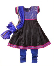 The Little Fashionistas Girls Festive & Party Kurta, Churidar & Dupatta Set(Black Pack of 1)