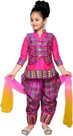Aarika Girls Kurti, Patiala and Dupatta Set(Pink Pack of 1)