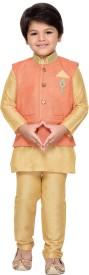 AJ Dezines Boys Kurta, Waistcoat and Pyjama Set(Orange Pack of 1)