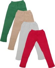 IndiWeaves Legging For Girls(Green Pack of 4)