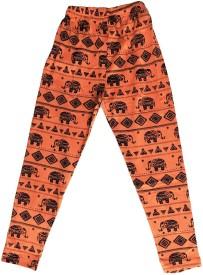 KiddoPanti Legging For Girls(Orange Pack of 1)