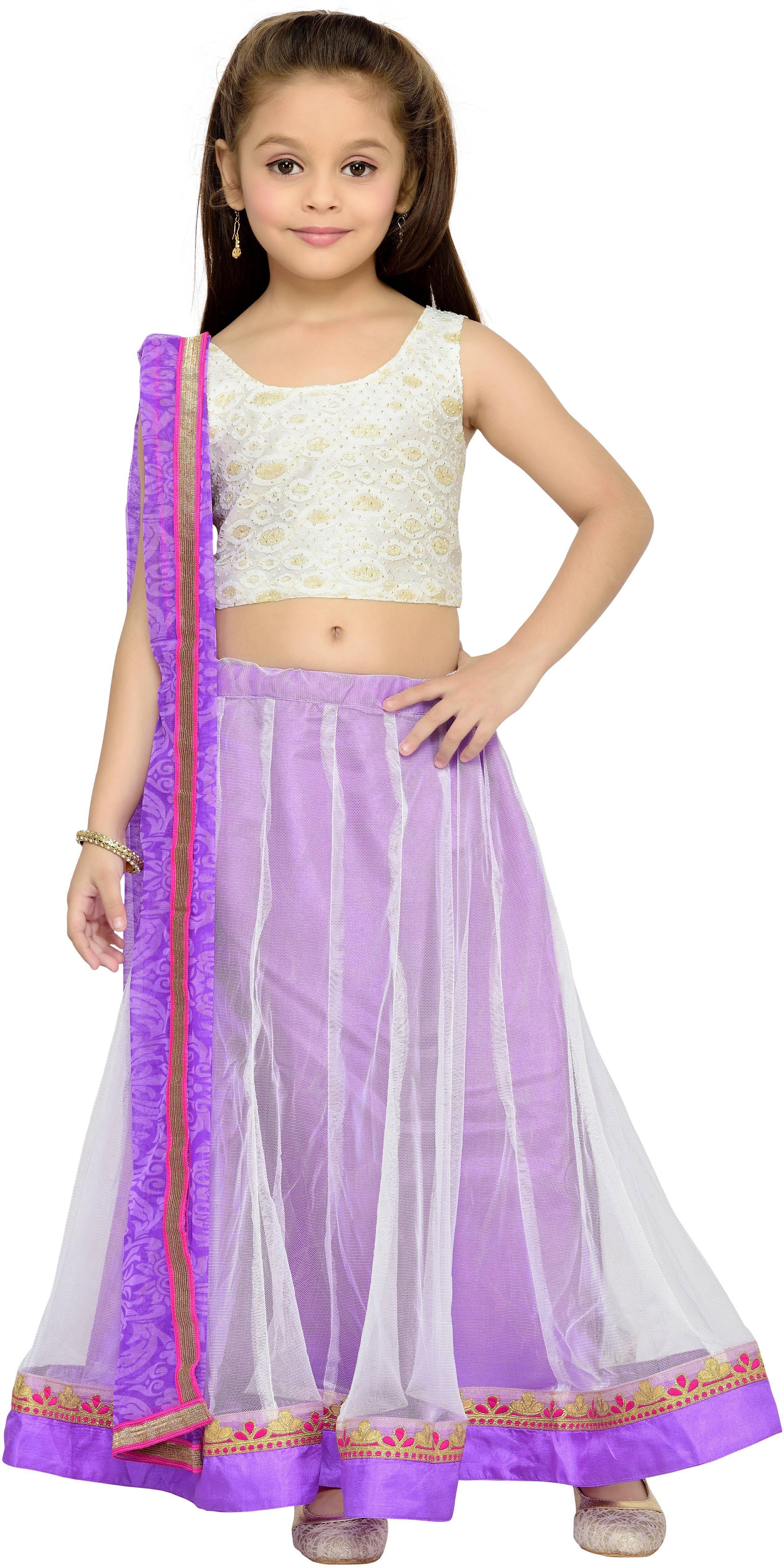 Kay Girls Lehenga Choli Fusion Wear, Ethnic Wear Self Design Lehenga, Choli and Dupatta Set(White, Pack of 1)