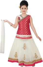 Saarah Girls Lehenga Choli Ethnic Wear Self Design Lehenga, Choli and Dupatta Set(Beige, Pack of 1)