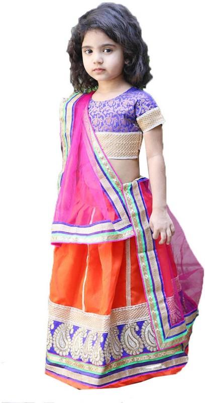 Aglare Baby Girls Lehenga Choli Ethnic Wear Embroidered Lehenga, Choli...