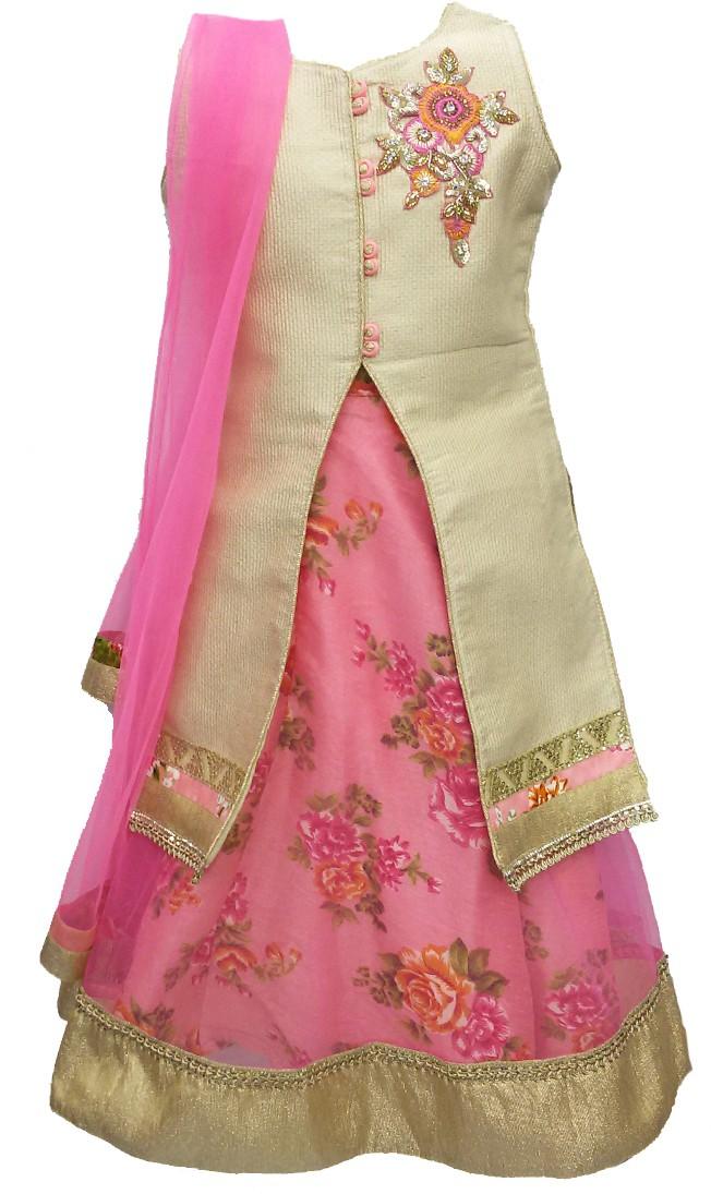Pogo Girls Lehenga Choli Fusion Wear, Ethnic Wear Floral Print Lehenga, Choli and Dupatta Set(Beige, Pack of 1)