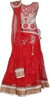 Crazeis Girls Lehenga Choli Ethnic Wear Embroidered Lehenga, Choli and Dupatta Set(Red, Pack of 1)