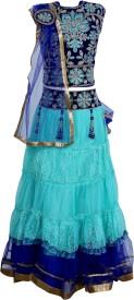 Crazeis Girls Lehenga Choli Western Wear Embroidered Lehenga Choli(Blue, Pack of 1)