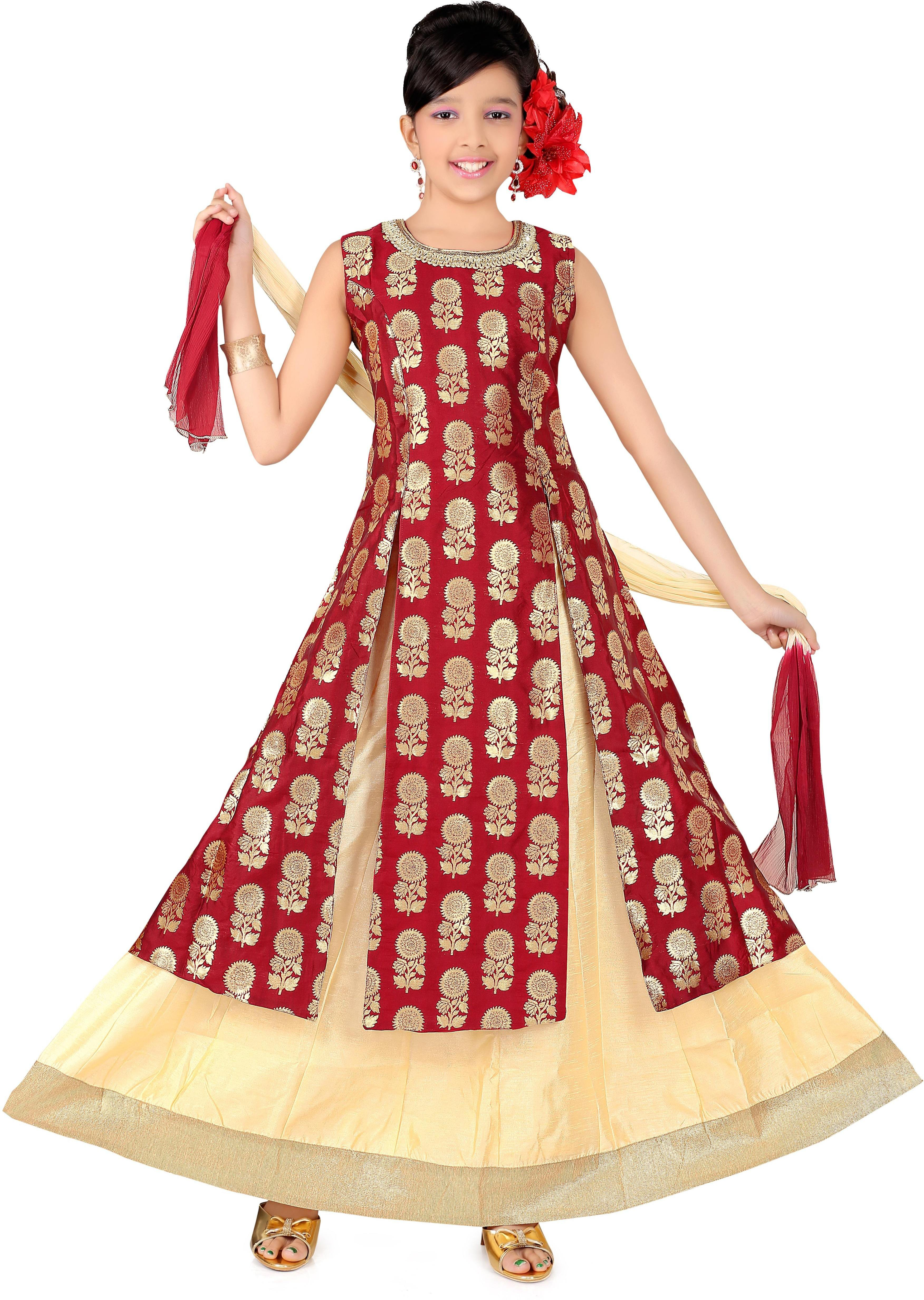 Trendy Girls Girls Lehenga Choli Ethnic Wear Self Design Lehenga Choli(Maroon, Pack of 1)