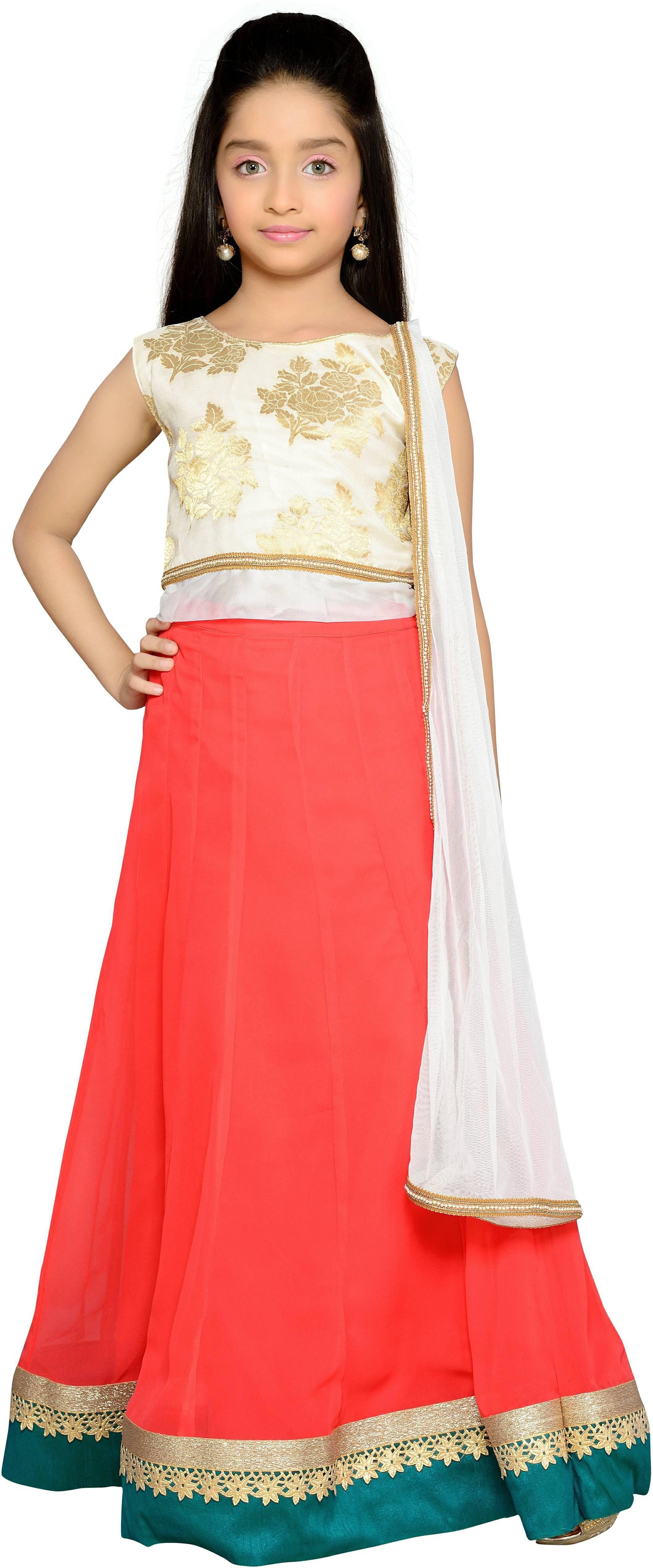 K&U Girls Lehenga Choli Fusion Wear, Ethnic Wear Self Design Lehenga, Choli and Dupatta Set(White, Pack of 1)