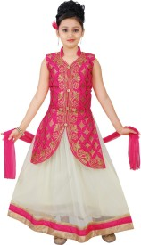 DHANYA Girls Lehenga Choli Ethnic Wear Self Design Lehenga, Choli and Dupatta Set(Pink, Pack of 1)