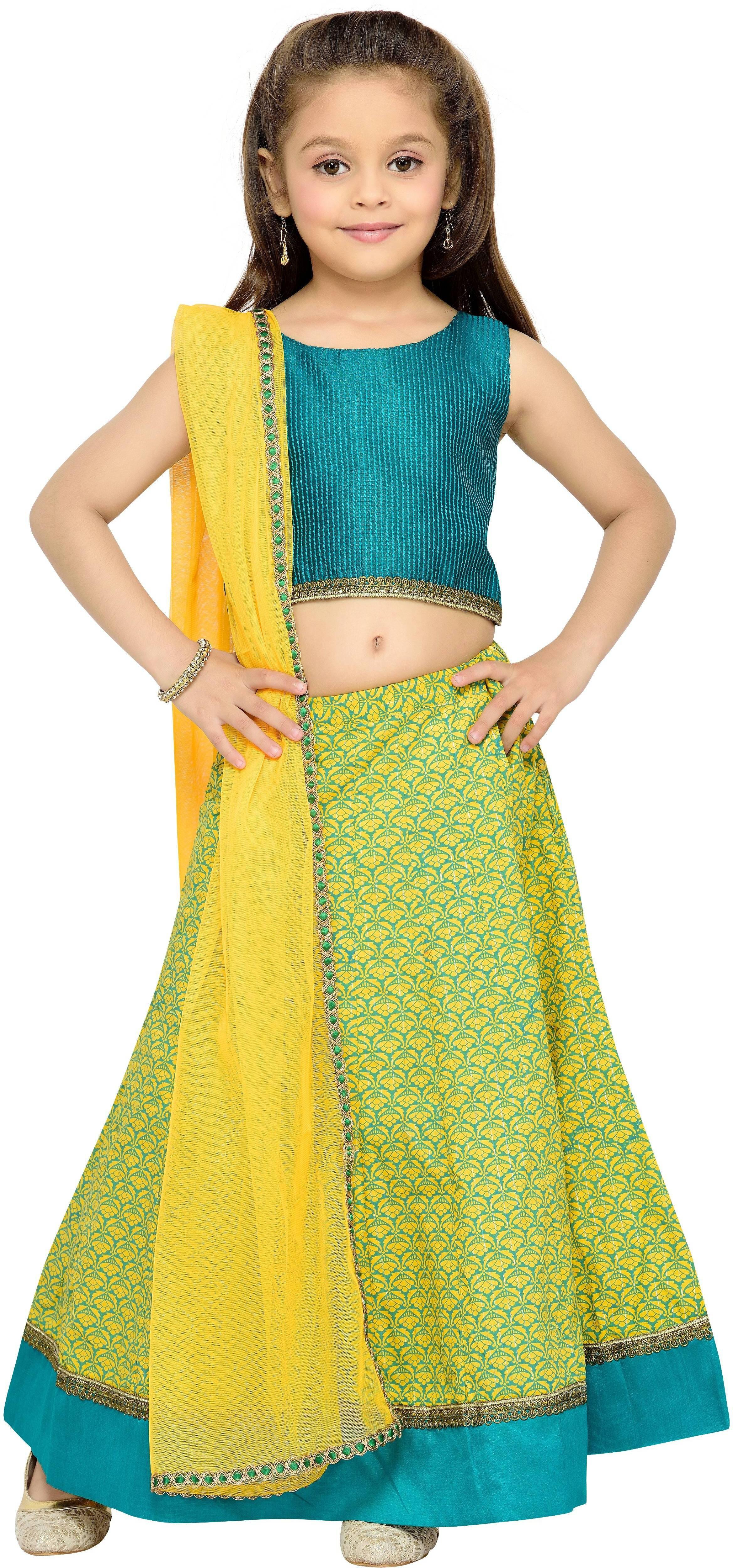 Kay Girls Lehenga Choli Fusion Wear, Ethnic Wear Self Design Lehenga, Choli and Dupatta Set(Yellow, Pack of 1)