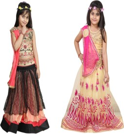 Crazeis Girls Lehenga Choli Ethnic Wear Embroidered Lehenga, Choli and Dupatta Set(Multicolor, Pack of 2)