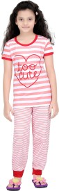 Red Ring Kids Nightwear Girls Printed Cotton(Multicolor Pack of 1)