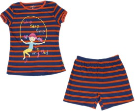 Mackly Kids Nightwear Girls Printed Cotton(Red Pack of 1)