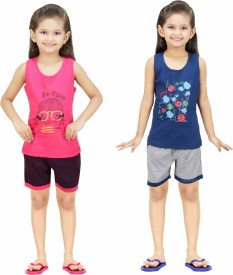 Color Kids Kids Nightwear Girls Printed Cotton(Multicolor Pack of 2)