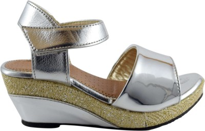 Parv Collections Girls Sling Back Wedges(Silver)