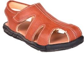 Snappy Boys Sling Back T-bar Sandals(Maroon)