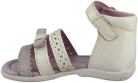 Elves Girls Slip-on Strappy Sandals(White)
