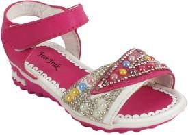 Foot Frick Girls Sling Back T-bar Sandals(Pink)