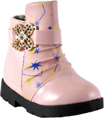 Parv Collections Boys & Girls Pink Casual Boots(Pack of 1)