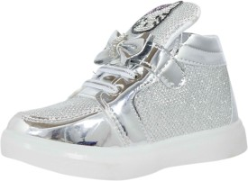 Parv Collections Girls Velcro Casual Boots(Silver)
