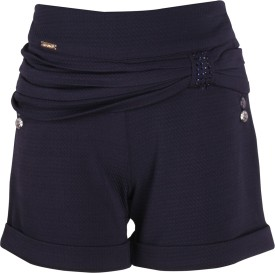 Cutecumber Short For Girls Party Solid, Embellished Polyester(Dark Blue, Pack of 1)