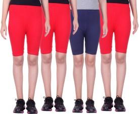 Alisha Short For Girls Sports Solid Cotton Lycra Blend(Multicolor, Pack of 4)