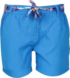 UFO Short For Girls Casual Solid Rayon(Blue, Pack of 1)