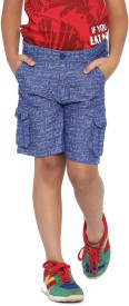 Yk Short For Boys Casual Self Design Cotton(Blue, Pack of 1)