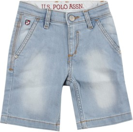 Us Polo Kids Short For Boys Casual Solid Cotton(Light Blue)