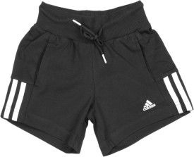 Adidas Short For Girls Solid Cotton Polyester Blend(Black)