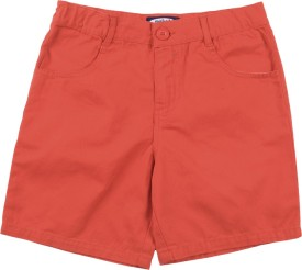 NautiNati Short For Boys Solid Cotton(Red)