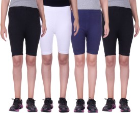 Alisha Short For Girls Sports Solid Cotton Lycra Blend(Multicolor, Pack of 4)