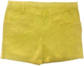 Fashtech Short For Girls Casual Embriodered Cotton(Yellow, Pack of 10)