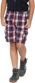Yk Short For Boys Casual Checkered Cotton(Multicolor, Pack of 1)