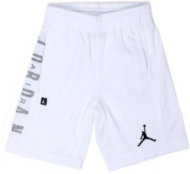 Jordan Short For Boys Casual Solid Cotton Polyester Blend(White, Pack of 1)